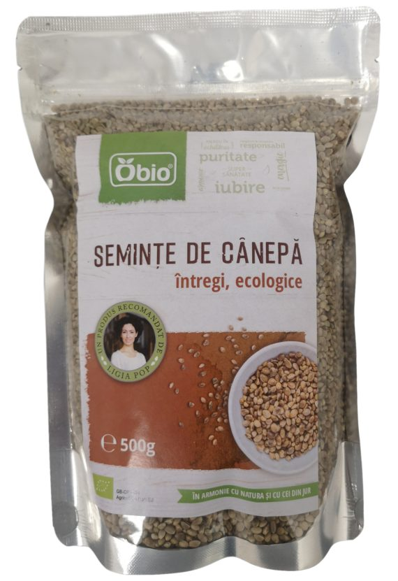 Seminte de canepa intregi raw eco 500g